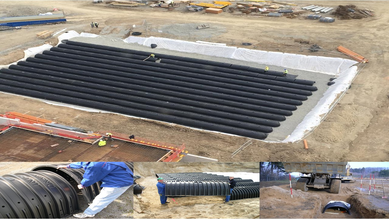 Picture showing large Drainmax Infiltration Tunnel Installation