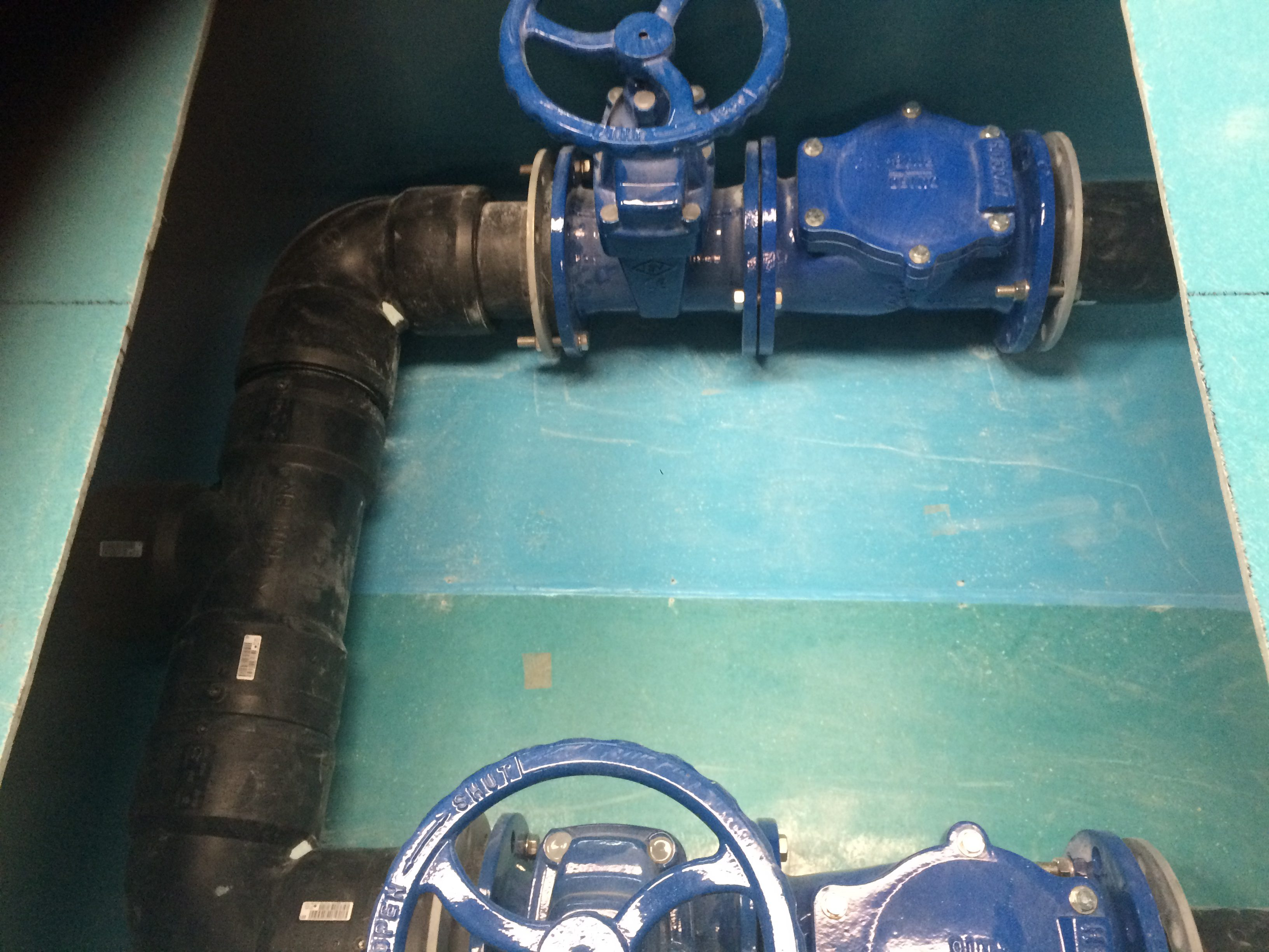 Top View of Package GRP Valve Chamber. The Valve Chamber is integrated into the side of the Pump Station
