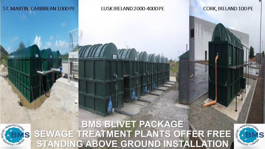 Pictures of BMS Blivet Package Sewage Treatment Plants installed above ground