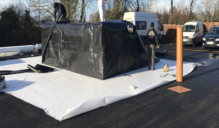 Wrapping Stormbreaker system in a geomembrane