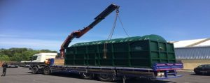 BL1000 UV Blivet being lifted by Hi-Ab Truck